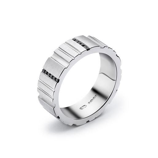 """Manhattan"" men's platinum wedding band by Dennis & Lavery"