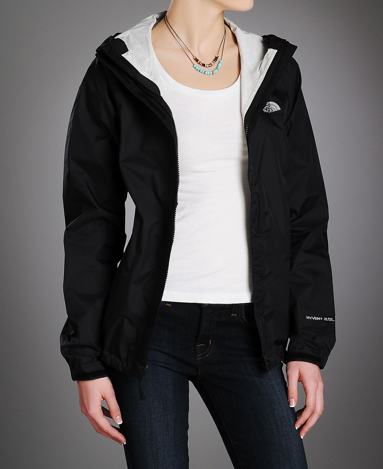 A light jacket like this Black Northface windbreaker is great to throw on when heading out!