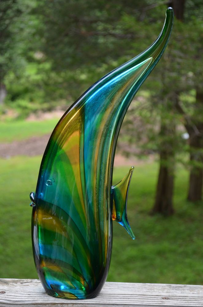 Vintage luigi mellara murano art glass fish figurine for Murano glass fish