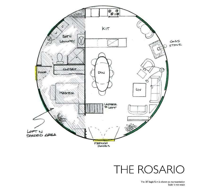 Yurt floor plans the rosario cabin yurt pinterest for Yurt building plans