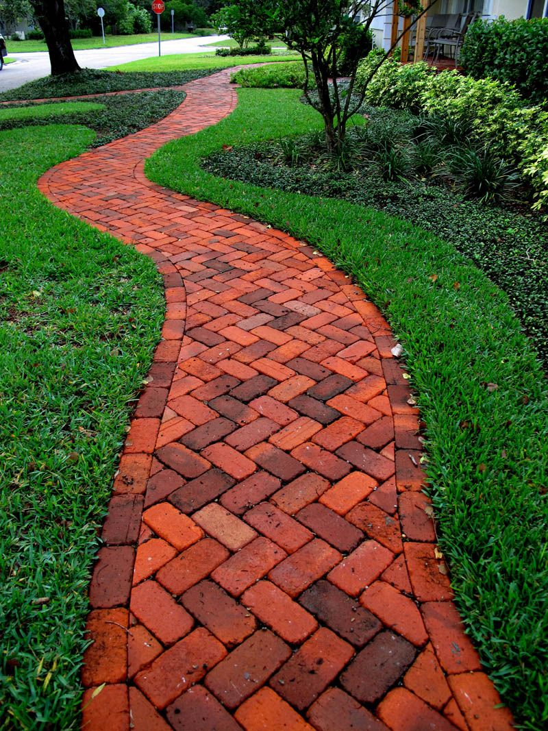 Brick herringbone walkway concrete pavers clay brick for Paving designs for small garden path