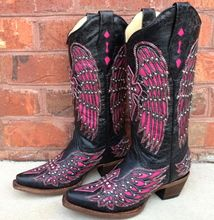 Corral Black Pink Wing Cross A1049 Cowgirl Boots Corral Cowgirl Boots Boots