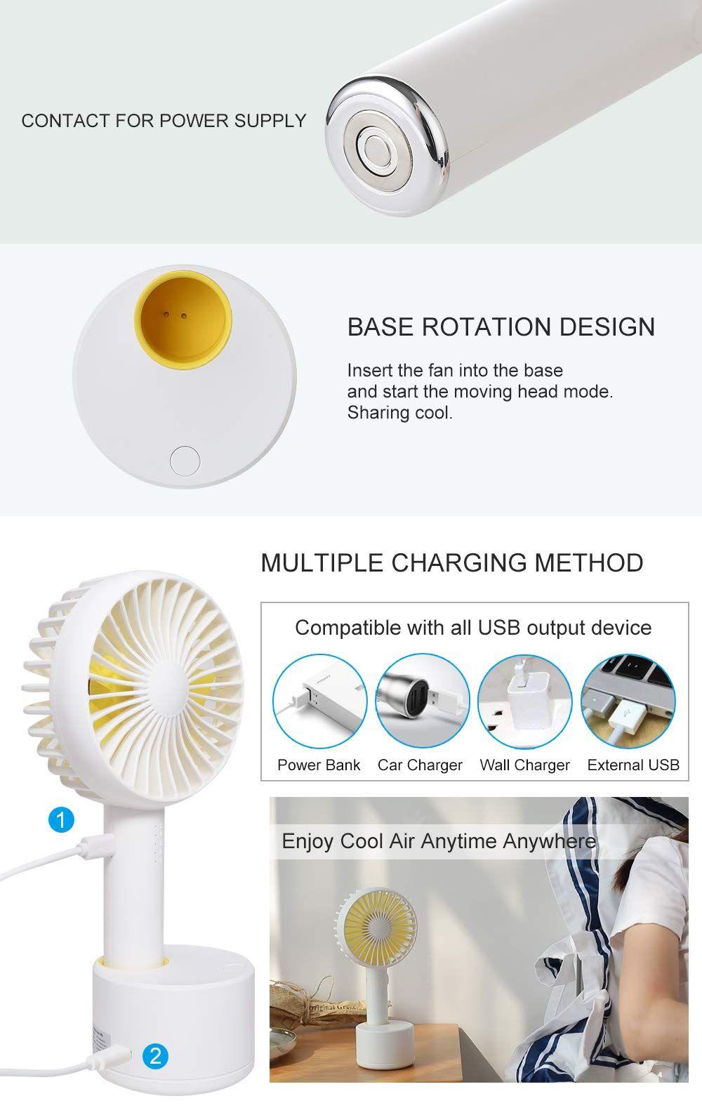 Mini Handheld Personal Fan Portable Rotate Usb Fan Battery