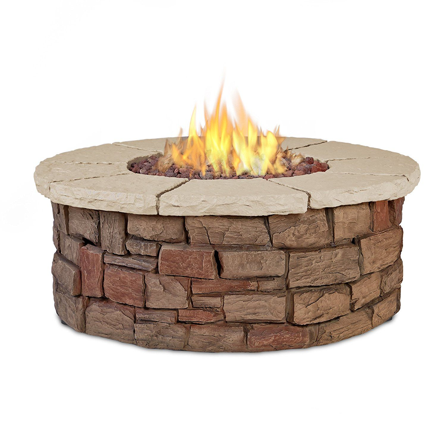 Real Flame Sedona Round Propane Fire Table Large Brown Fire