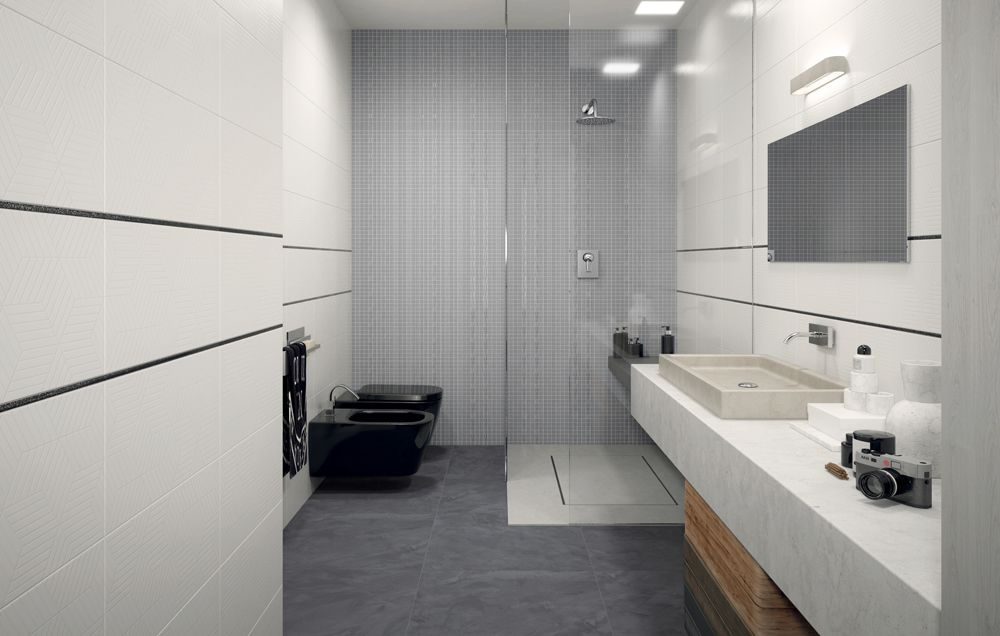 Grey and white design modern interior concrete wall floor