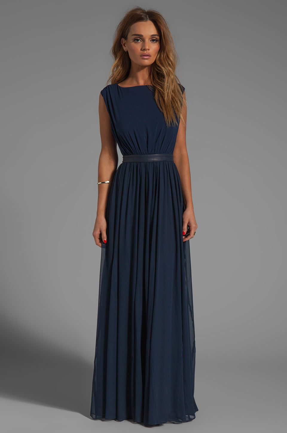 Alice olivia triss sleeveless maxi dress with leather trim in navy