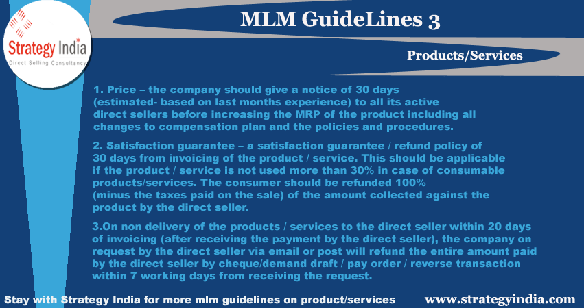 Strategy India shares mlm guidelines for product and services  Stay