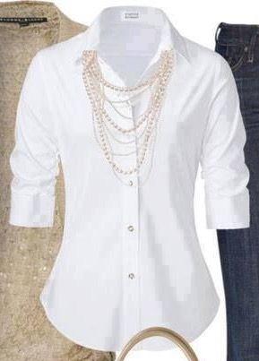 más vendido mejor nuevo alto Camisa blanca clasica Perlas... Un plus!   paso en 2019 ...