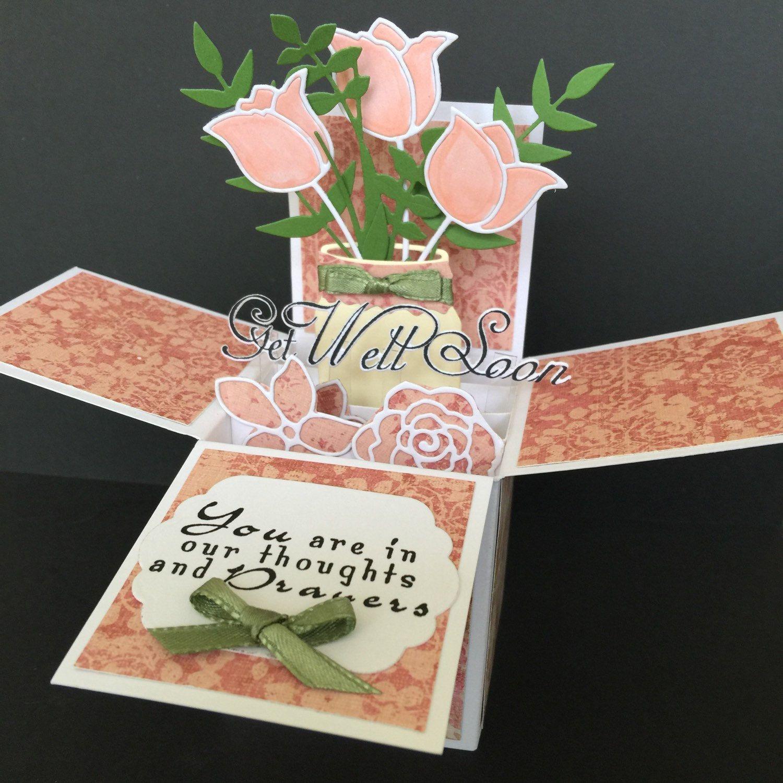 3d Get Well Soon Pop Up Box Card Get Better Soon Pop Up Card Etsy Pop Up Box Cards Card Box Exploding Box Card