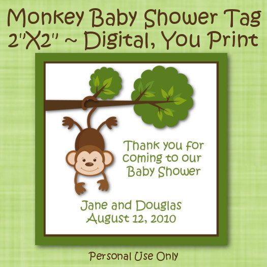 Printable Monkey Baby Shower Favor Tags By TheLoveofPaper5