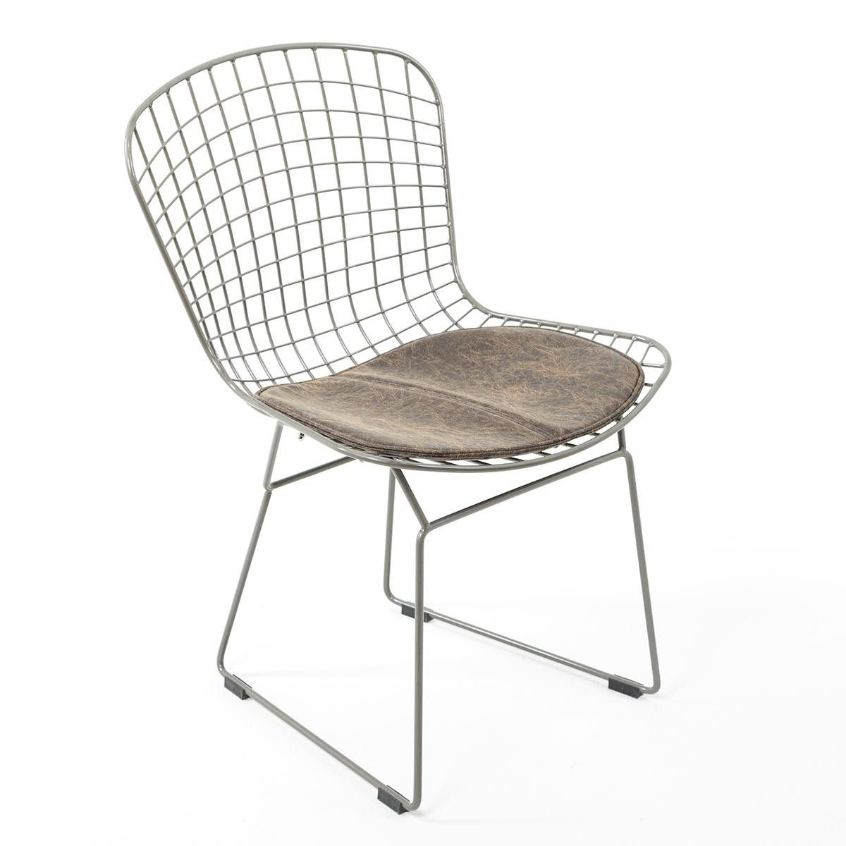 Modern Metal Mesh Chair With Leather Cushion