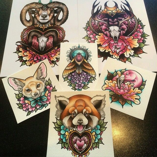Neo Traditional Animal Skull Tattoo Designs