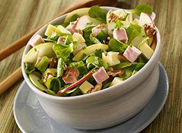 Salade de pommes, rôti de porc, comté et noix
