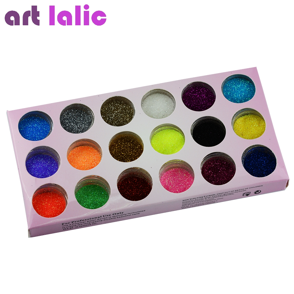 2.85$ Watch here - 18 Colors Nail Art Glitter Powder Dust Decoration ...