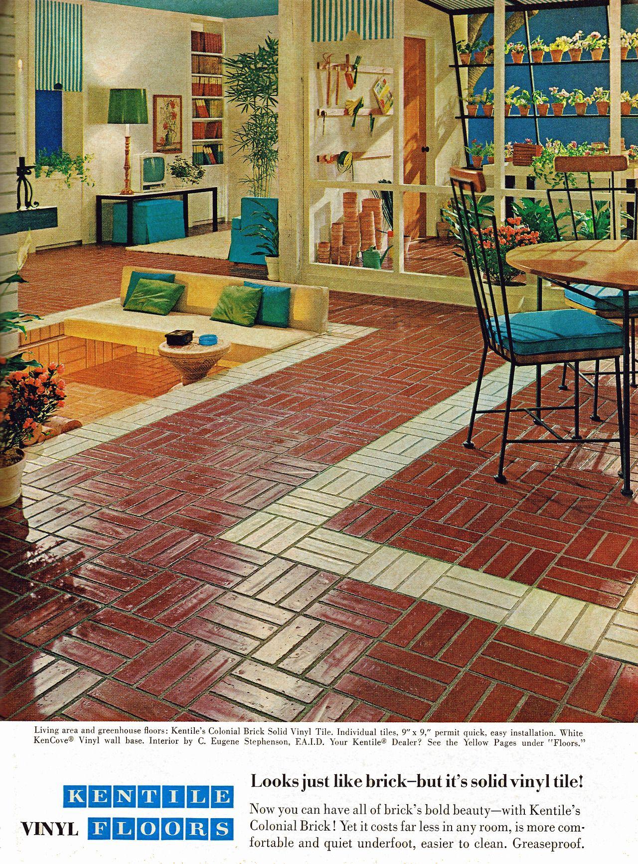 1967 Kentile Vinyl Floors I Love The Color Palette But I Remember The Floor Mid Century Modern Design Mid Century Modern Interiors Mid Century Modern House
