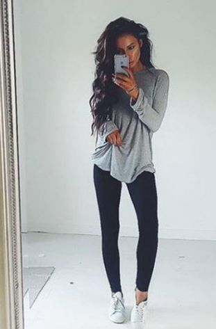 b69a18b89b9 20 Cute Outfits With Black Leggings To Copy | му ѕтуℓє♡ | Fashion ...