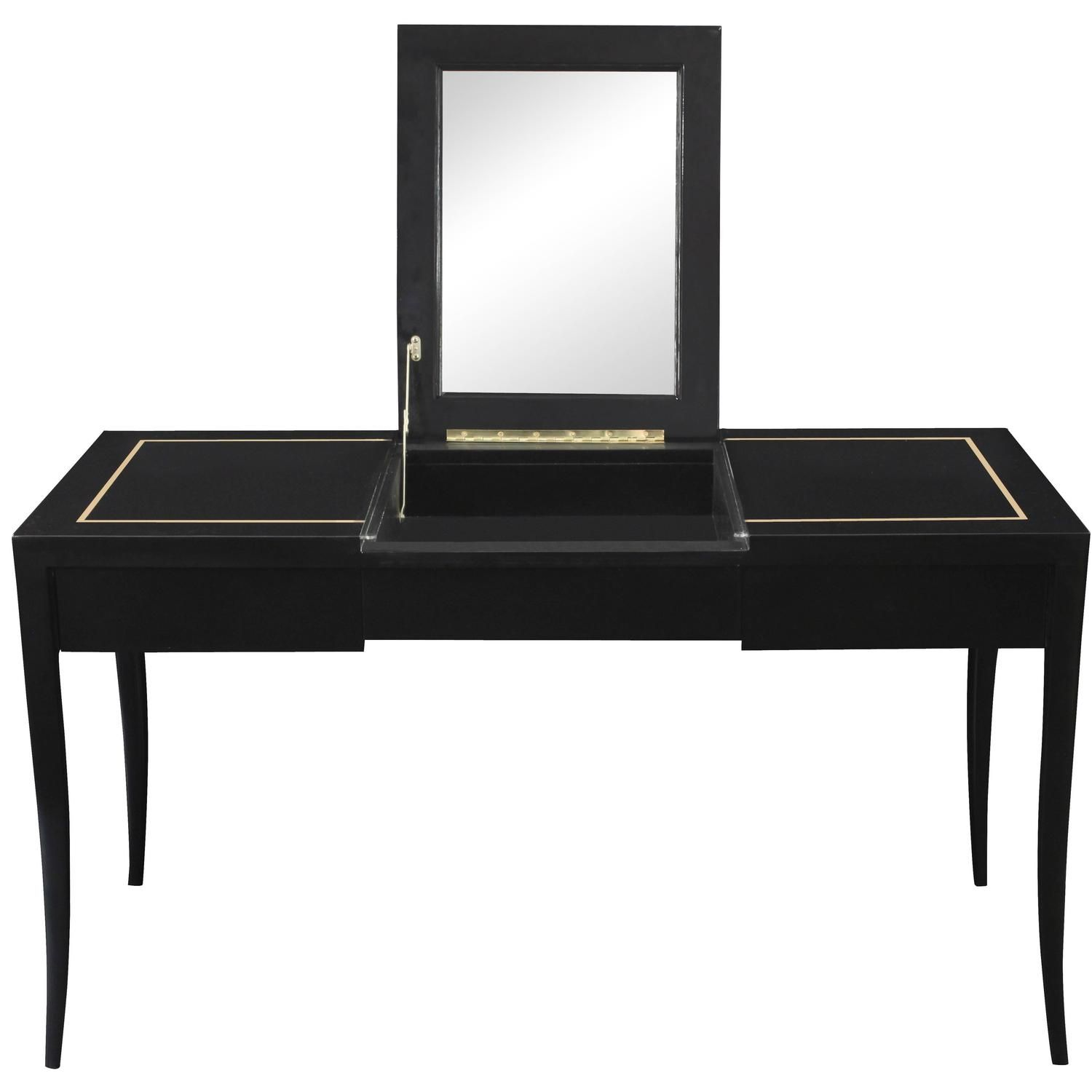 Lady S Vanity With Gold Inlay And Flip Up Mirror Top By