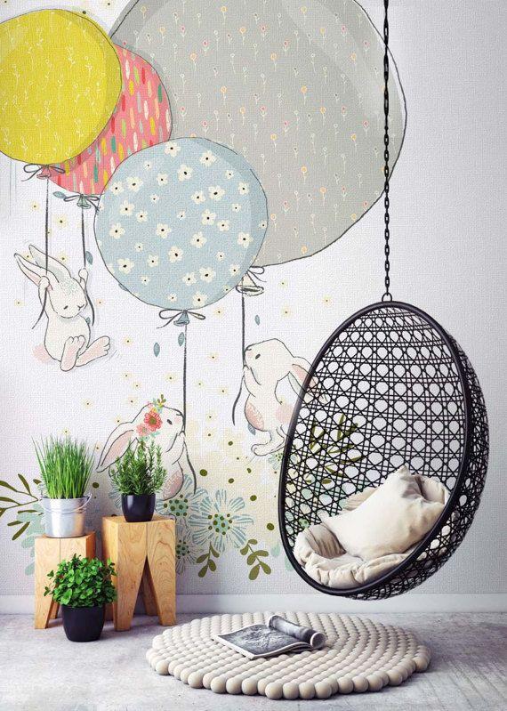 Awesome Wallpaper f r Babyzimmer Kinderzimmer Kaninchen Strukturierte Tapeten Waschbar Abnehmbar Sicherheit Eco Wandbild Vintage