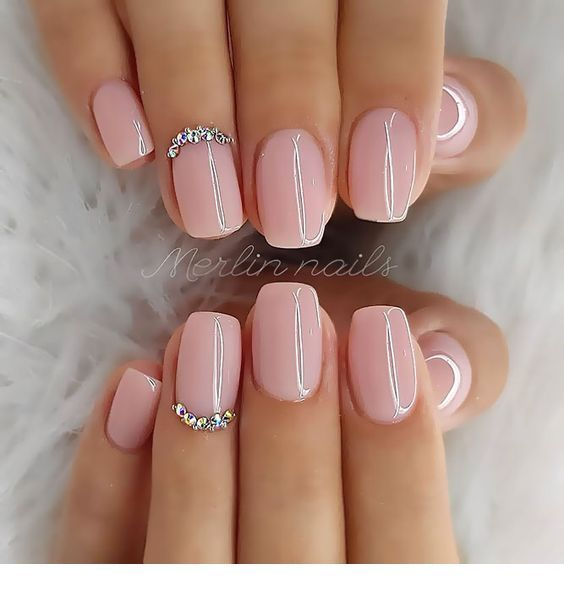 Cute Light Pink Nails With Some Details Short Acrylic Nails Designs Short Acrylic Nails Natural Acrylic Nails