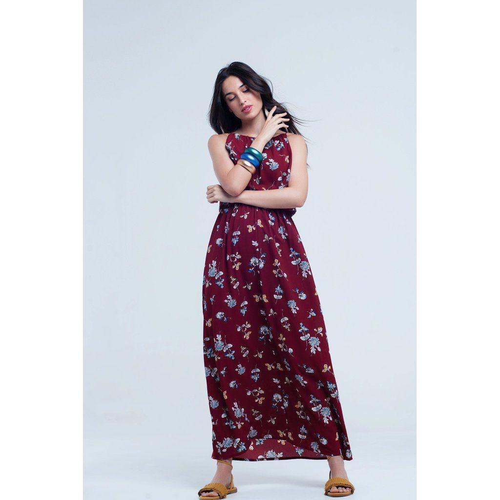 e82ad2a441c Red Long Flower Print Dress