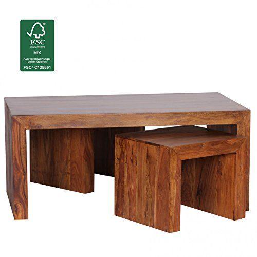 FineBuy Couchtisch mit Hocker Massiv-Holz Sheesham 110cm breit