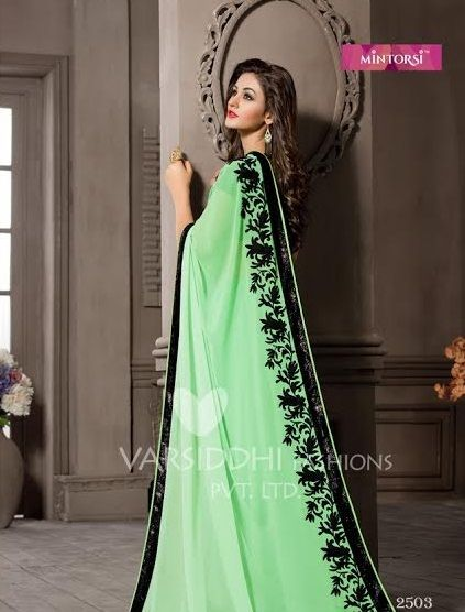 2f42b190f6 Buy Black and Pista Green Saree from shayona junction.Leading online store  to buy latest designer sarees and designer sari online USA,India.