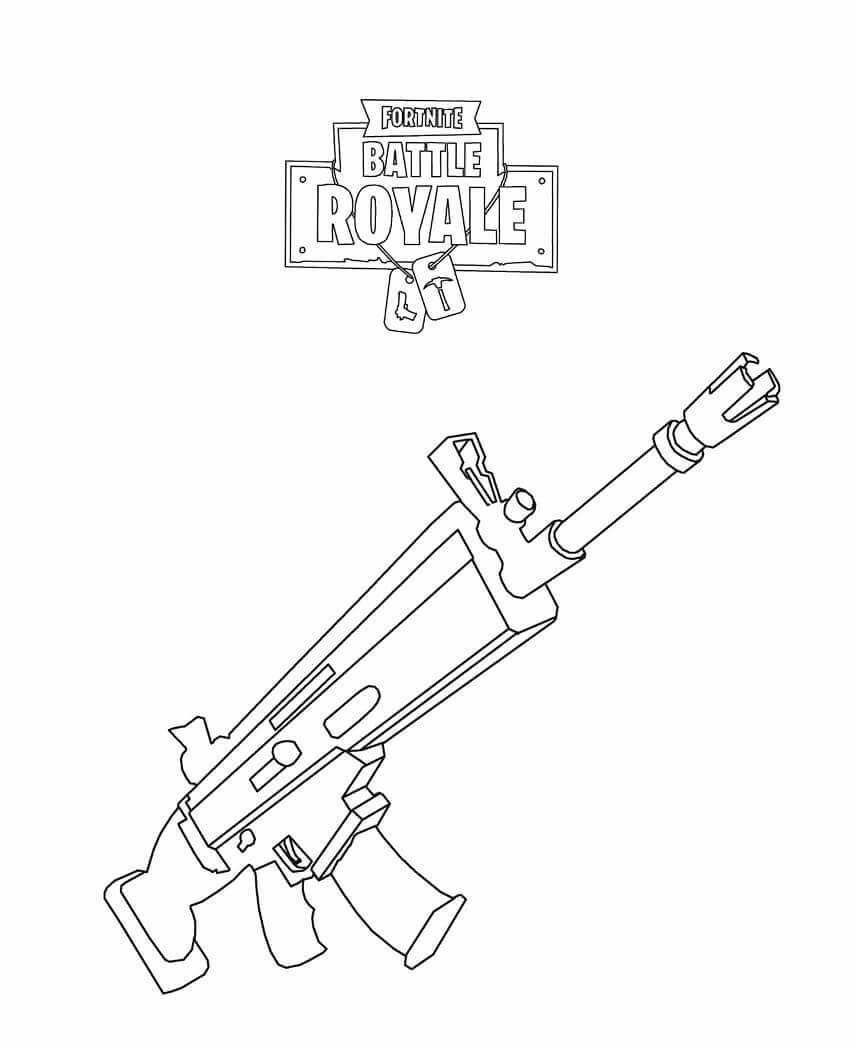 Fortnite Rifle Scar Coloring Page Papel En 2019 Pinterest