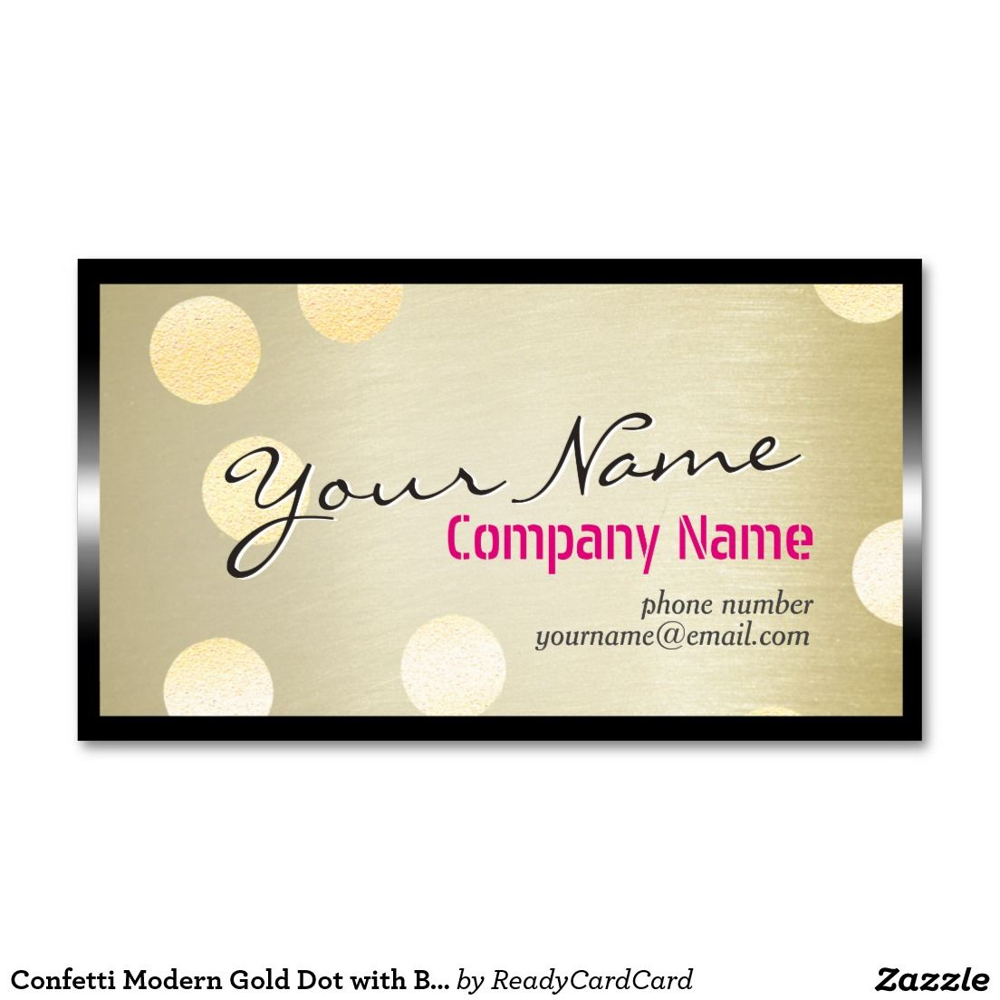 Confetti Modern Gold Dot with Black Metal Frame Business Card | Gold ...