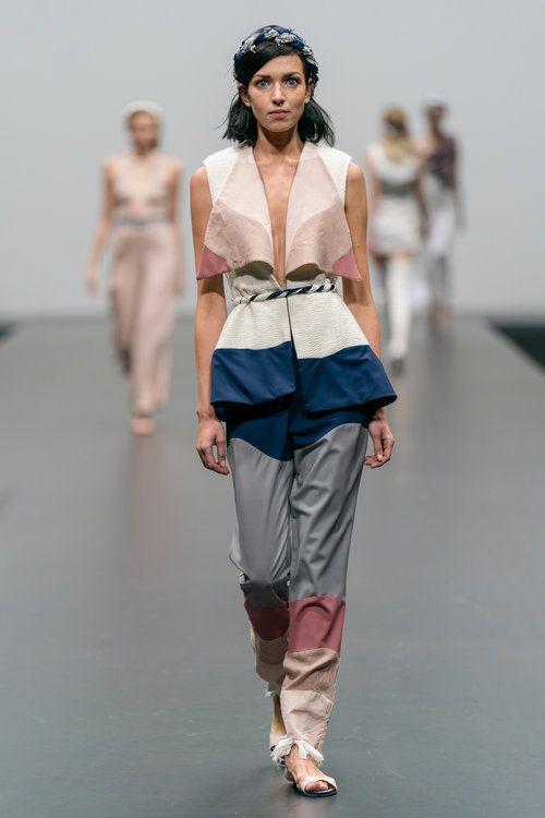 Reconstructed And Up Cycled Sleeveless Colour Block Top And Trousers Made From Secondhand Men Fashion Sustainable Fashion Designers Fashion Design Competition