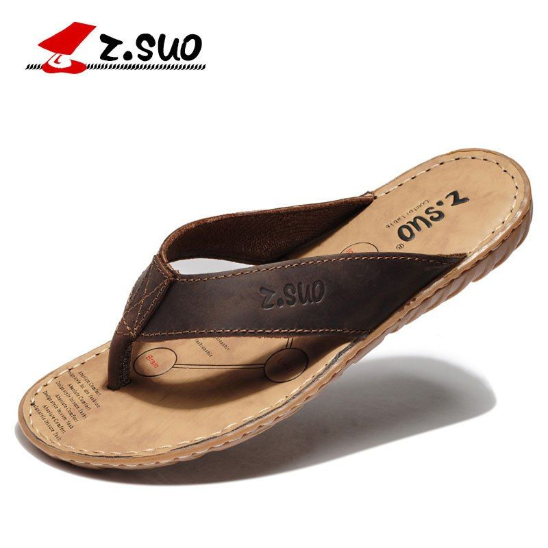 77d9303ba21531 Z.suo Brand 2018 Plus Size Brand Design Men Flip Flops High Quality Leather Slippers  Summer Cool Sandals Pantufa Zapatos Hombre