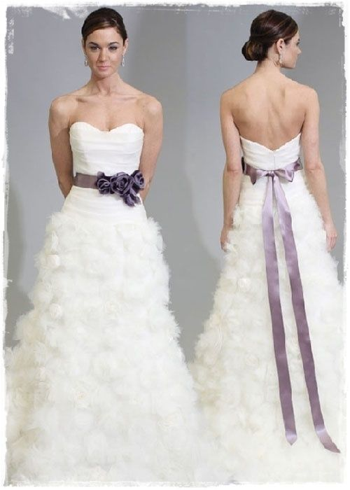 Purple Accent On Wedding Gown