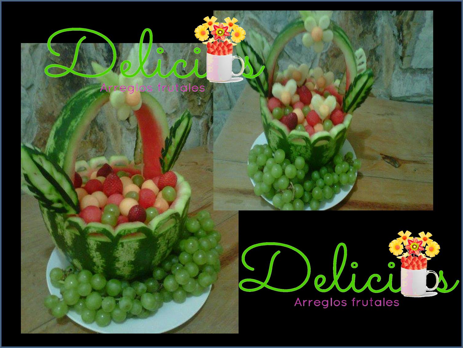 Cesta de frutas con patilla tallada centro de mesa for Centros de mesa con frutas