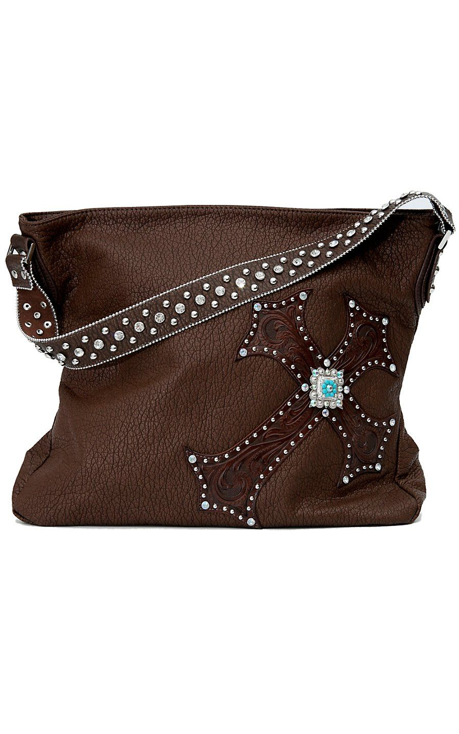 f19b93afc7e1 M&F® Blazin Roxx™ Brown Faux Leather w/ Turquoise Accented Cross Purse |  Cavender's