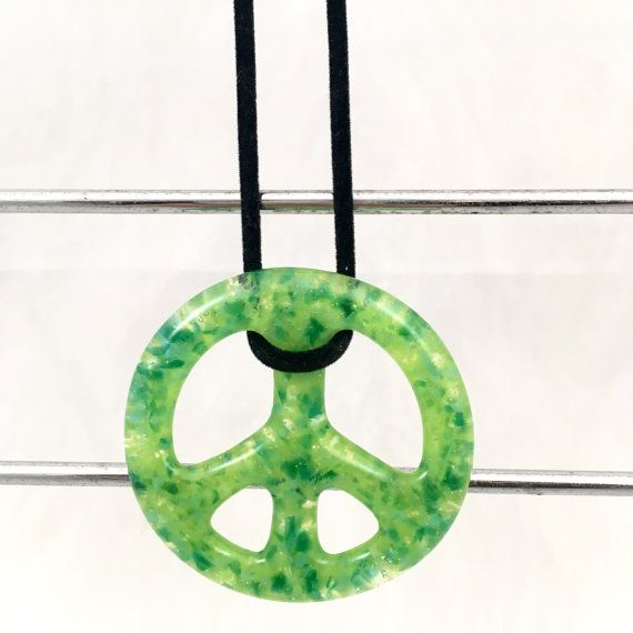 Lime Green Glass Peace Sign FREE Shipping by ChristaJoGlass