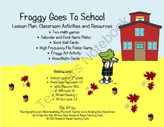 Research Based Classroom Design ~ Froggy goes to school lesson plan activities and