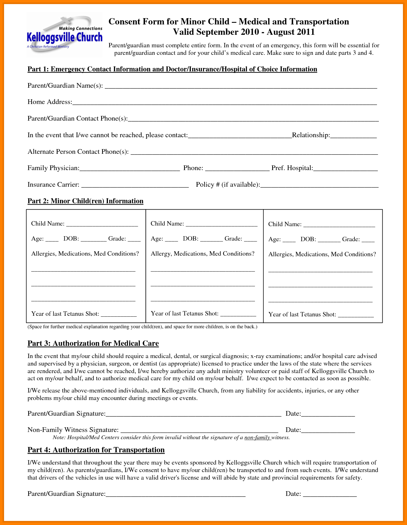 Free Child Medical Consent Form Generic Release Liability