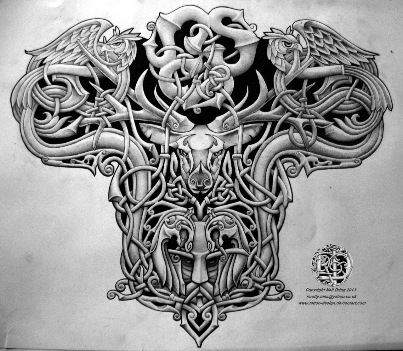 Horse Warrior Back Piece Tattoo For Men Celtic warrior