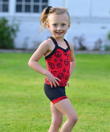 9e24ba9aa This Red   Black Peace Sign Cross-Back Tank   Shorts - Toddler ...