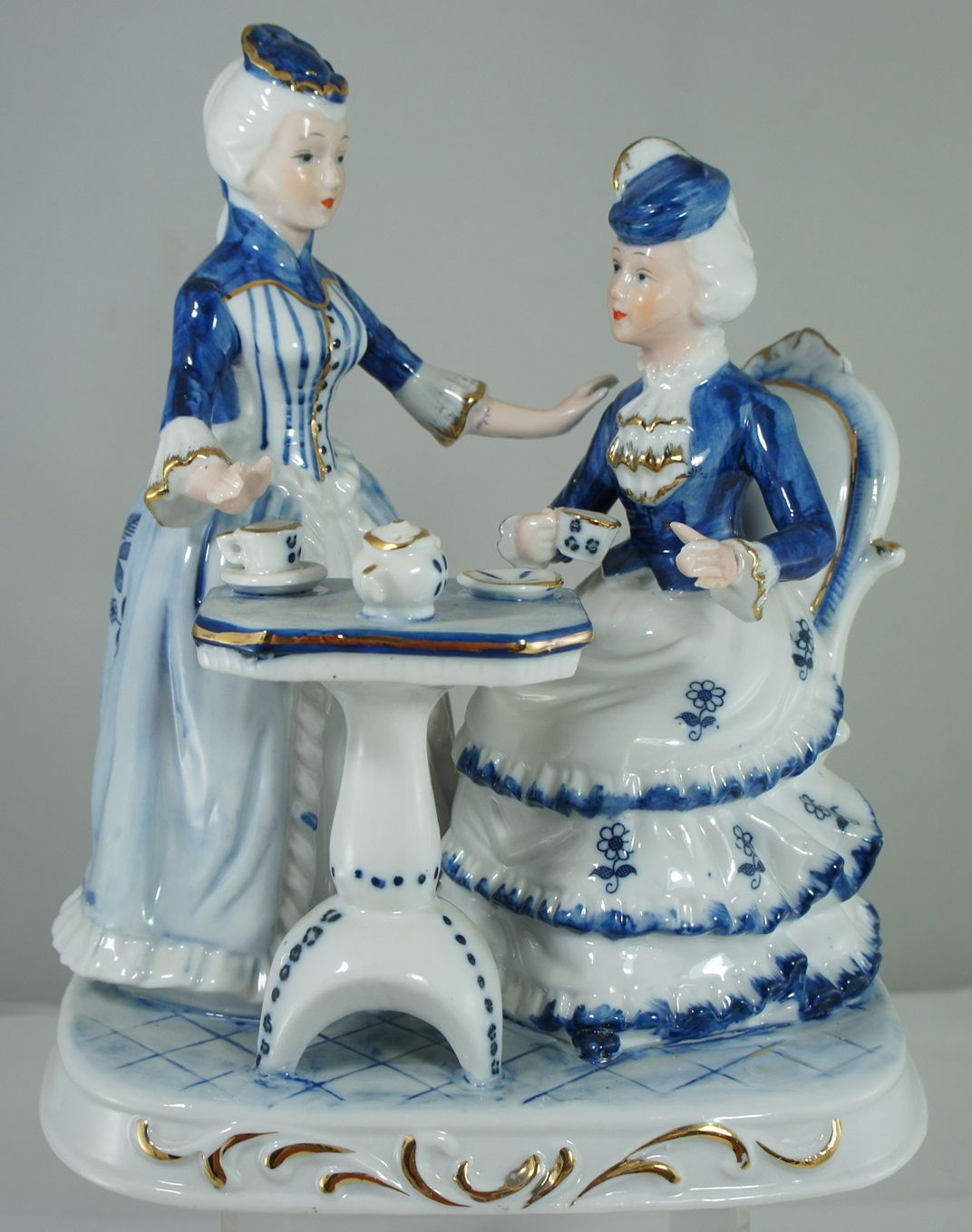 Vintage Blue White Gold Porcelain Victorian Figurine Wome
