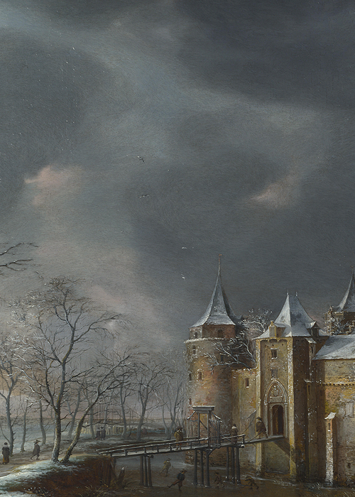 .:. The Castle of Muiden in Winter (detail), Jan Beerstraaten, 1658