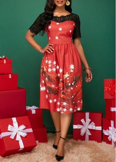 f397ce00a8e9 Lace Patchwork Christmas Party Dress-Red