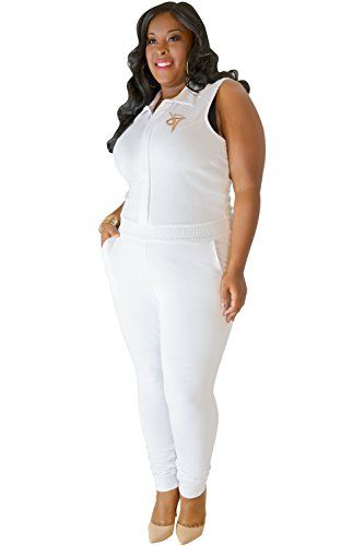 39ad88cf2ca3a Fashion Bug Plus Size Women s Curvy Fit White Sleeveless Stretch Collared  Jumpsuit Size 3X