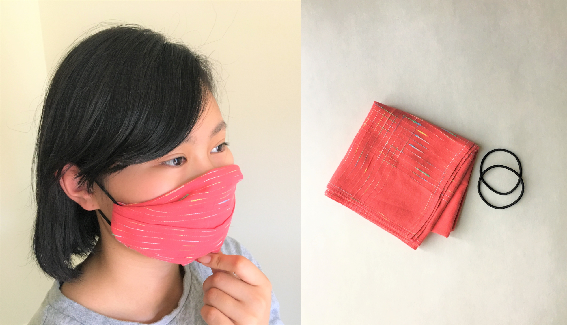 NoSew Pleated Face Mask with Handkerchief and Hair Tie in
