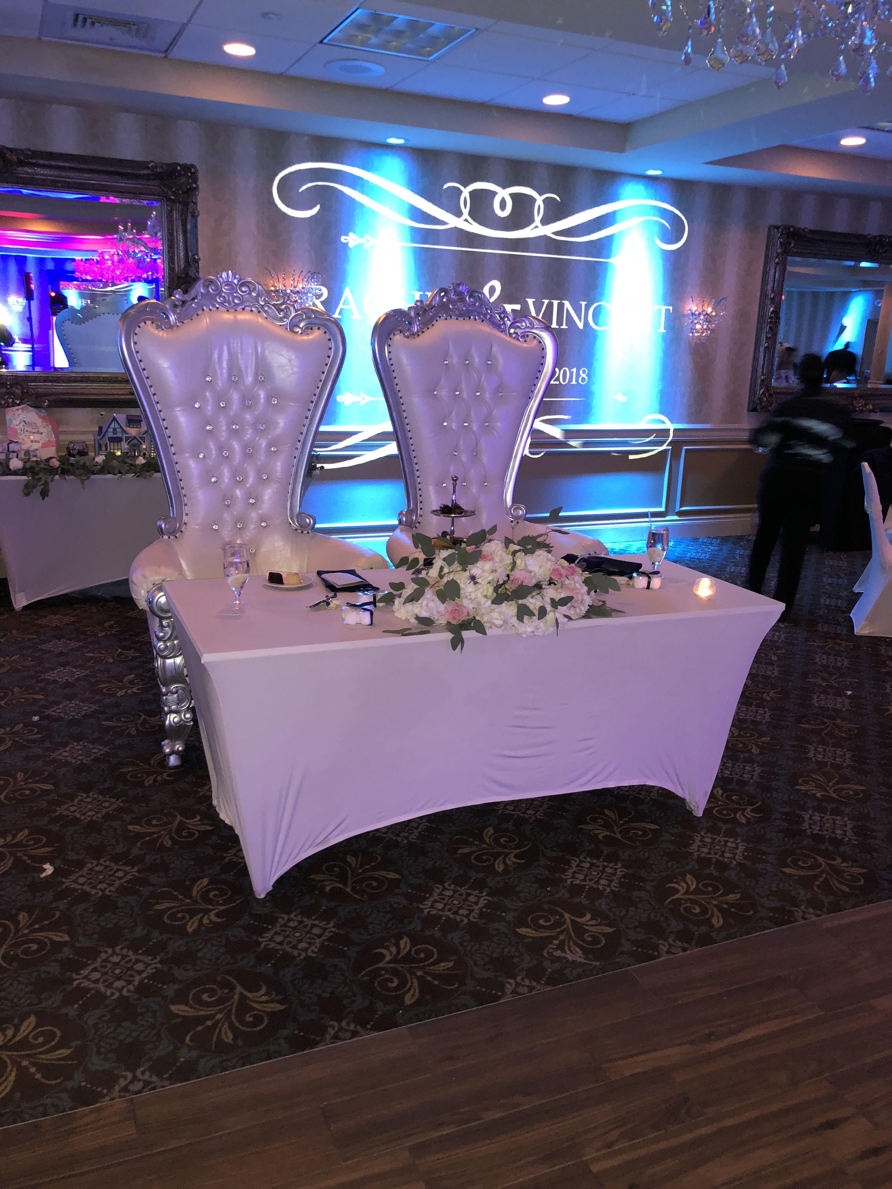 Custom Bride Groom Chair Rentals Ask Us Alankeithentertainment Brideandgroomchair Bride Groom Chairs Wedding Dj Bride Groom