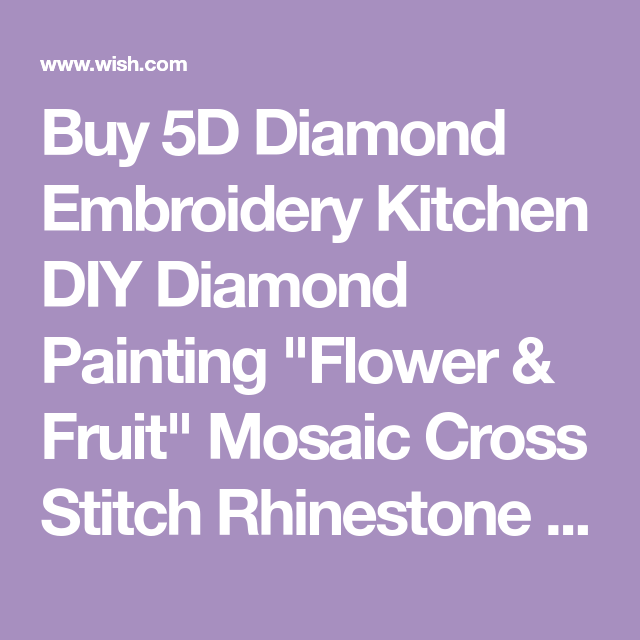 "5D Diamond Embroidery Kitchen DIY Diamond Painting /""Flower /& Fruit/"" Mosaic full"