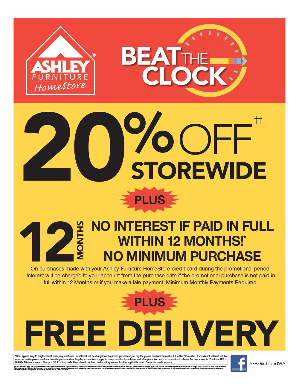 Beat The Clock Promotion Black Friday Sale Ashley Furniture In Richland Wa Is Open 7am 9pm November 29 Ashley Furniture Sale At Home Store Ashley Furniture
