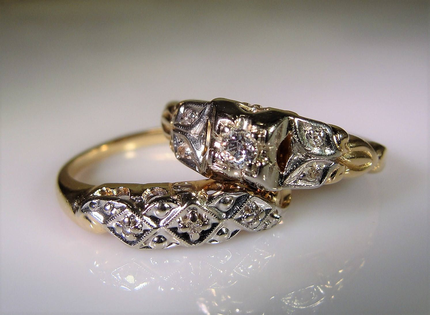 Reserved For Audur Osp 1st Payment 1940s Wedding Ring Set