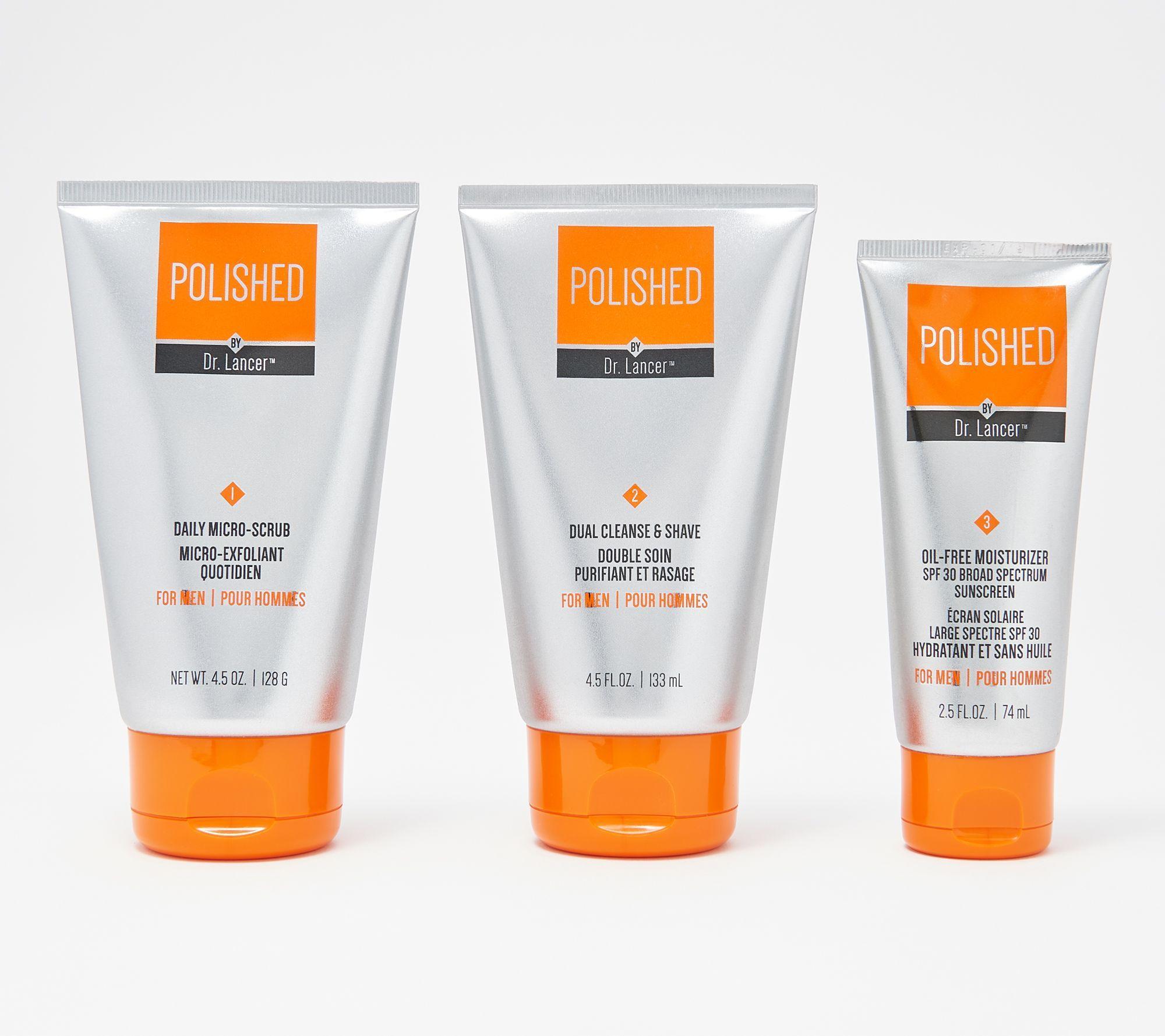 Polished By Dr Lancer Men S Skincare 3 Piece Set Qvc Com Mens Skin Care Men S Grooming Skin Care