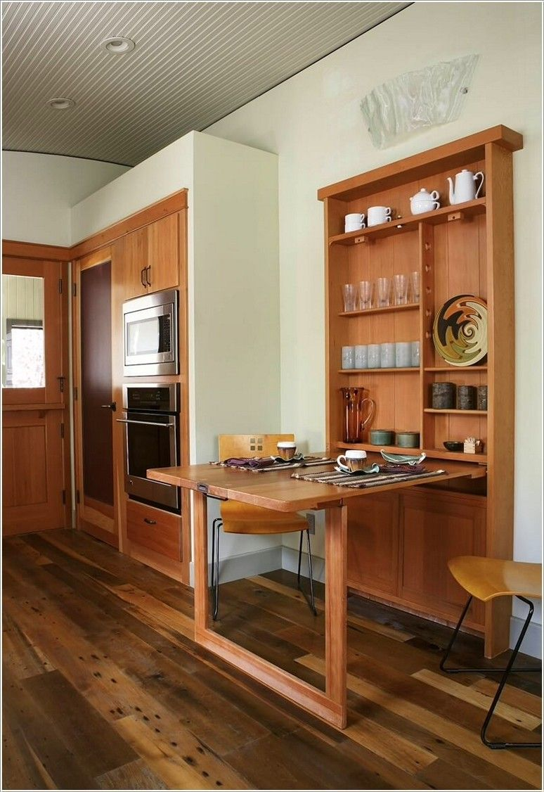 Fold Down Dining Table Wall Mounted Images Tiny House Kitchen