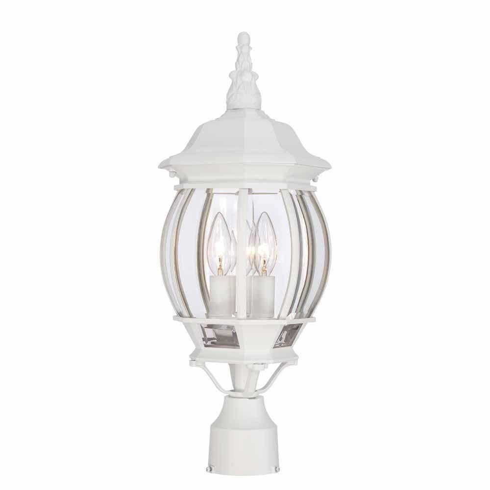 Hampton Bay 3 Light White Outdoor Post Light Hb7029 06 20 7 High 40 Outdoor Post Lights Post Lights Hampton Bay